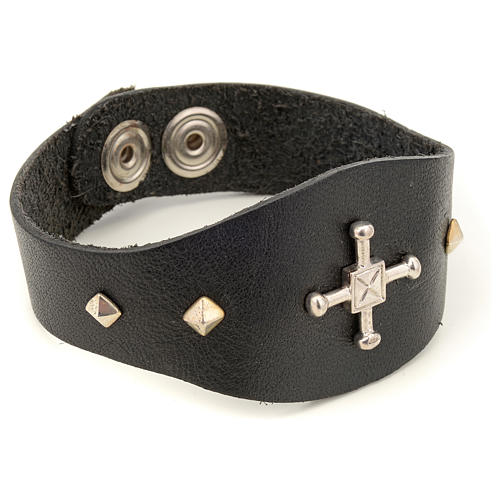 Bracelet in black leather with decorations in sterling silver 2