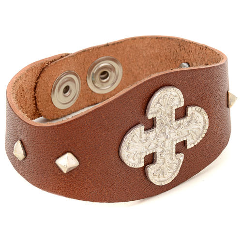Bracelet in brown leather with decorations in sterling silver 2