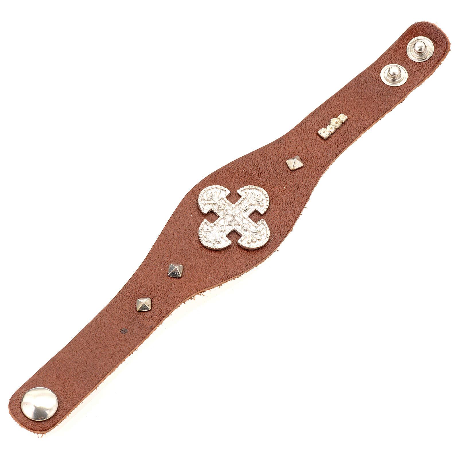 Bracelet en cuir marron avec décorations en argent 925 4