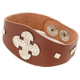 Bracelet en cuir marron avec décorations en argent 925 s1