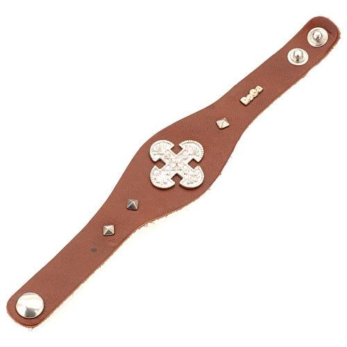 Bracelet en cuir marron avec décorations en argent 925 3