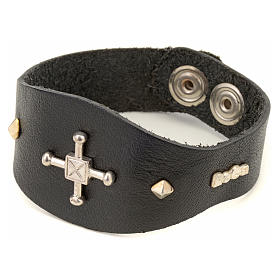 Bracelet in brown leather with decorations in sterling silver s4