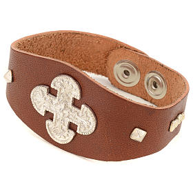 Bracelet in brown leather with decorations in sterling silver s1