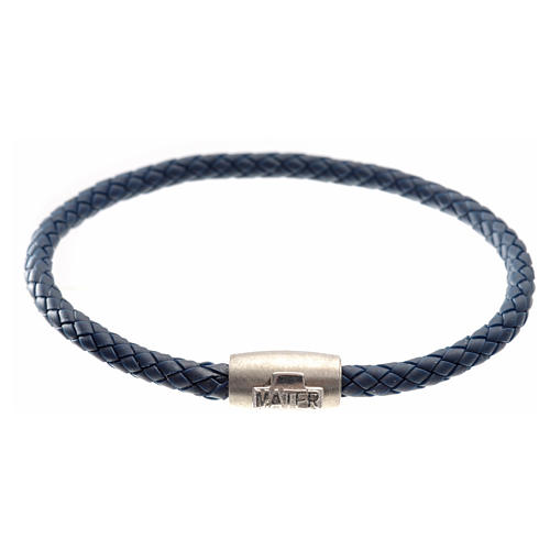 Bracelet in blue leather with silver cross, MATER jewels 1