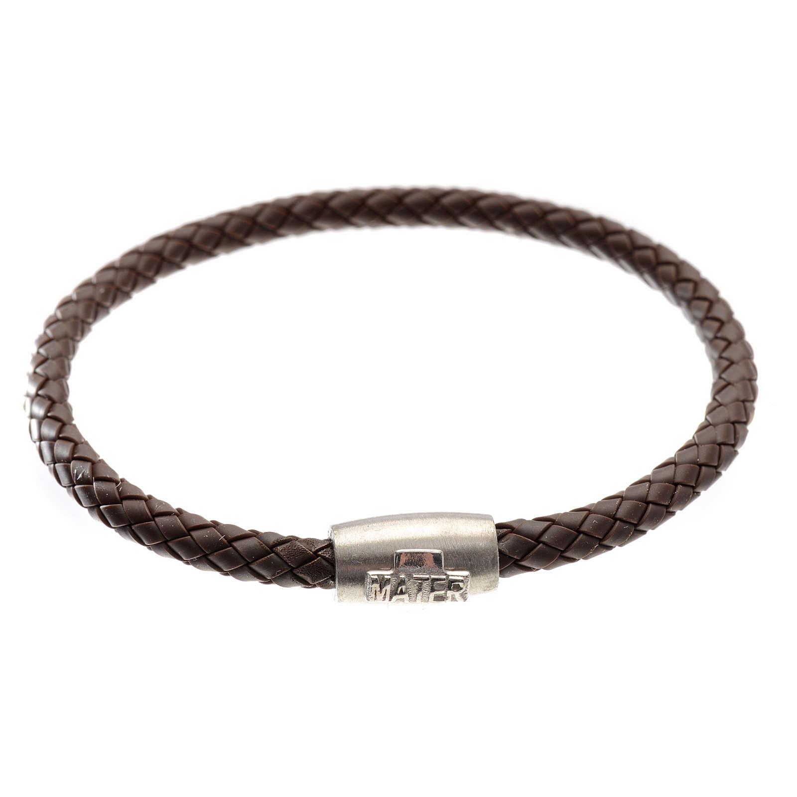 Armband MATER braun mit Kreuz aus Silber 925 4
