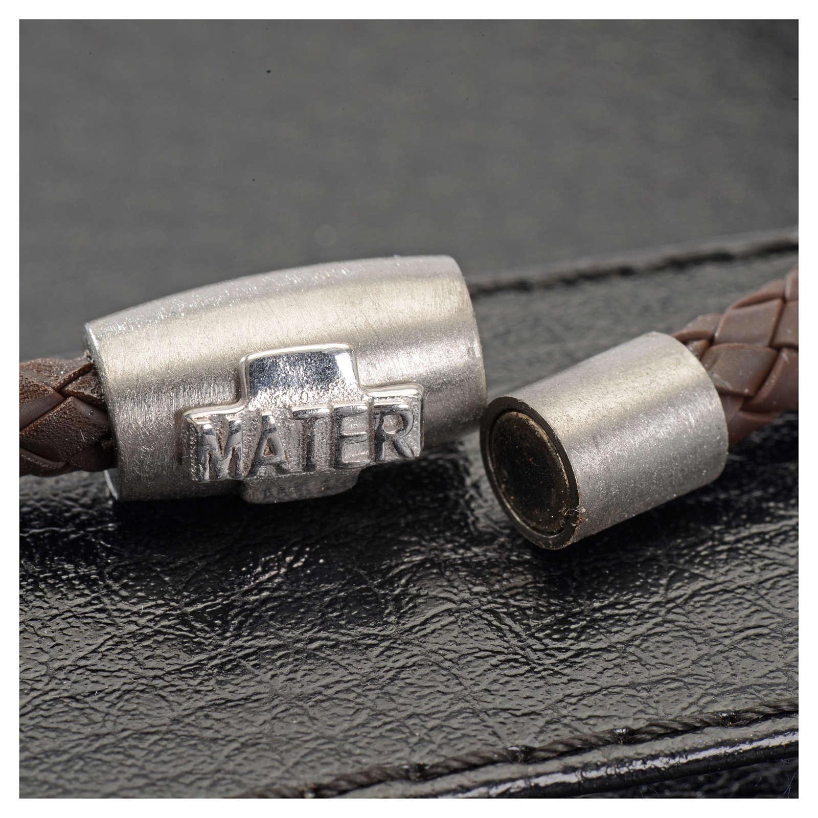 Bracciale MATER marrone croce argento 925 4