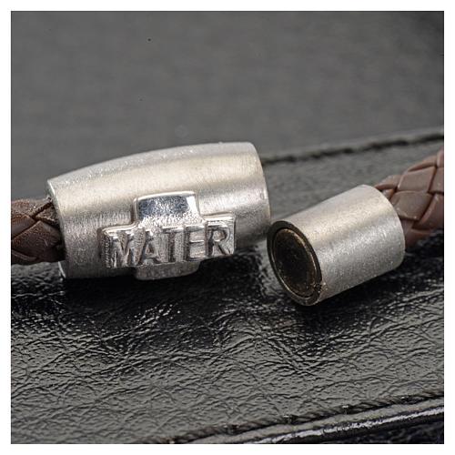 Bracciale MATER marrone croce argento 925 2