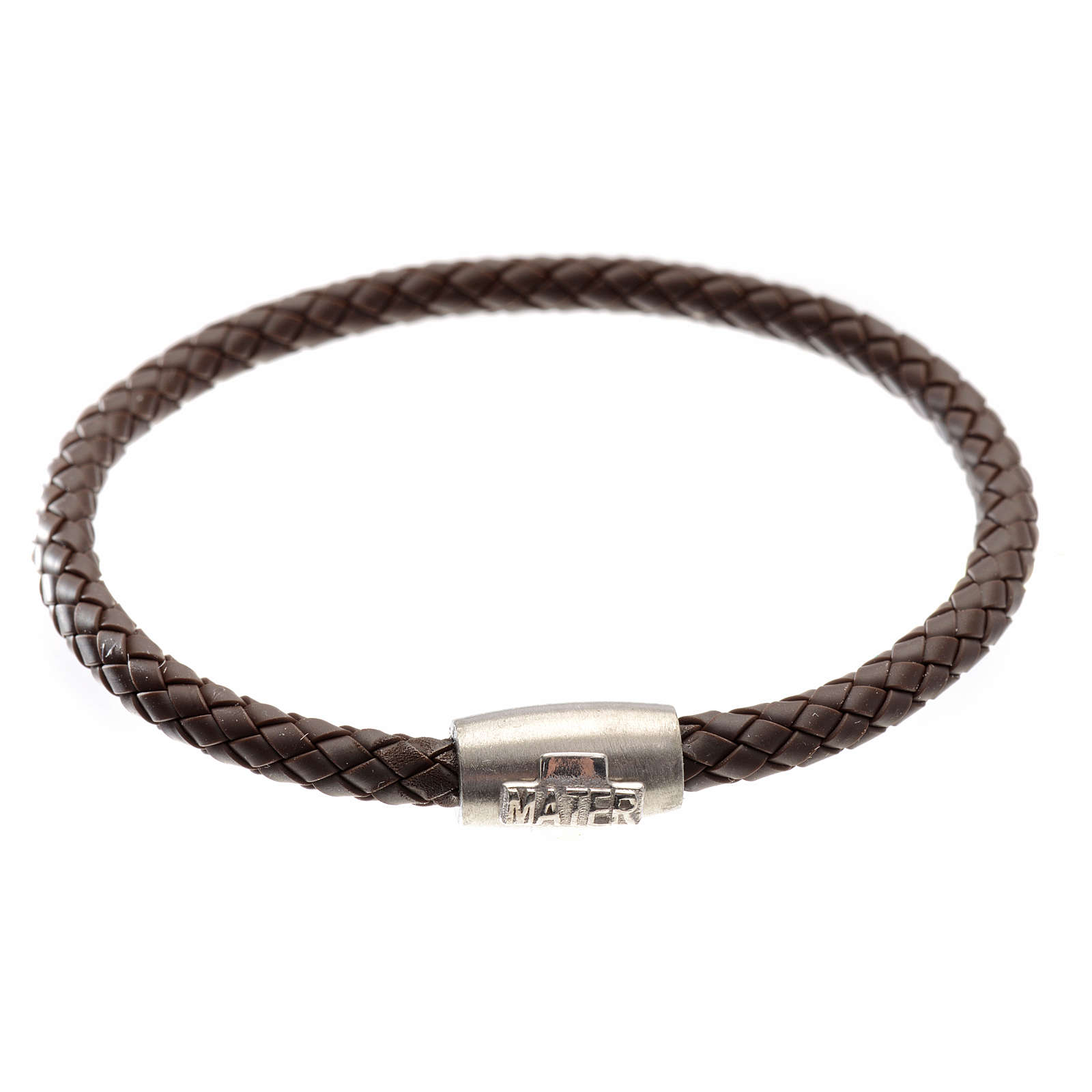 Bracelet in brown leather with silver cross, MATER jewels 4