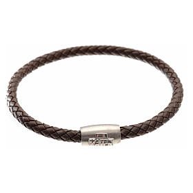 Bracelet in brown leather with silver cross, MATER jewels s1