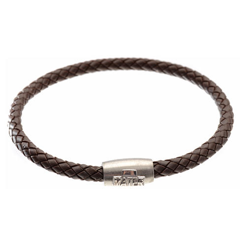 Bracelet in brown leather with silver cross, MATER jewels 1