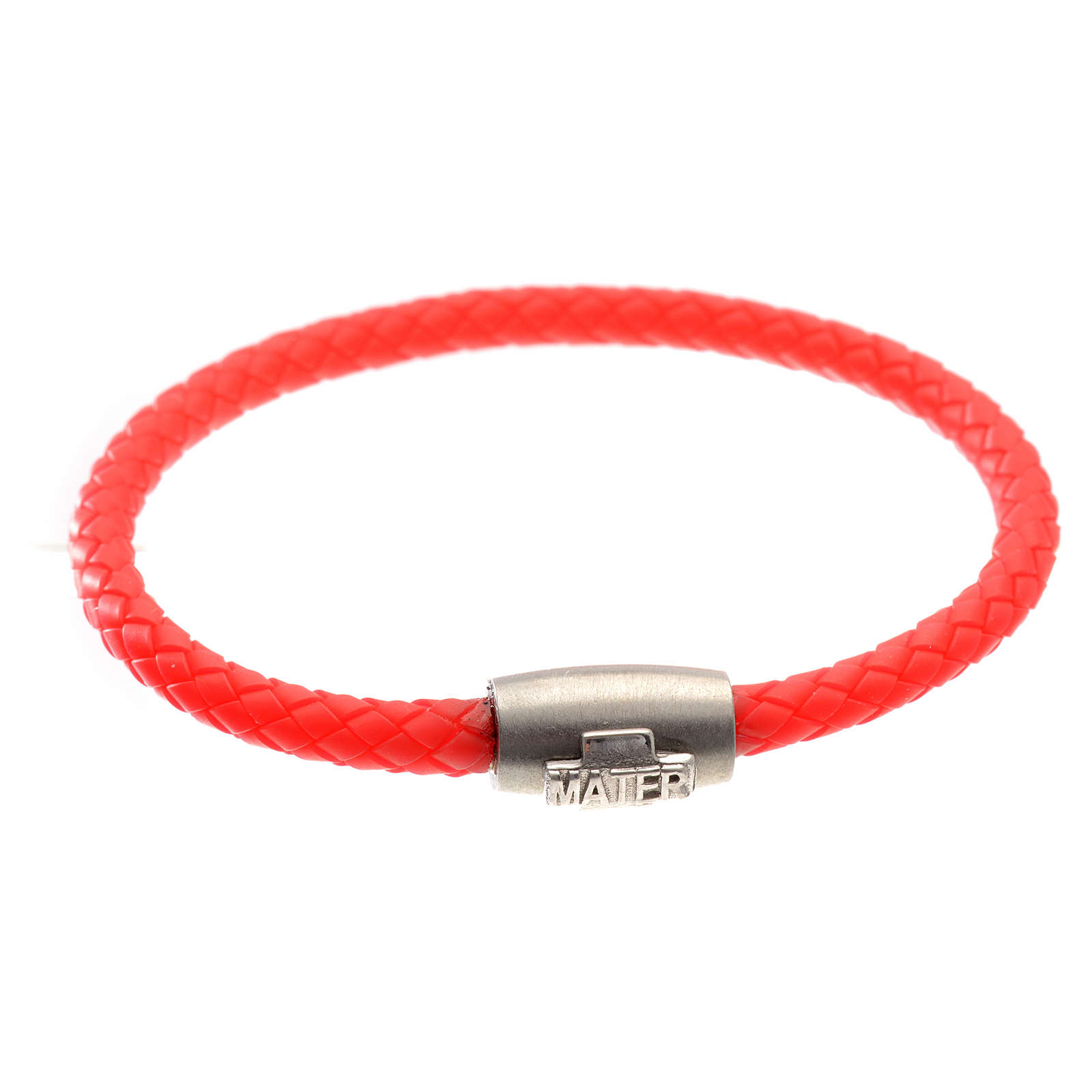 Bracelet in red leather with silver cross, MATER jewels 4