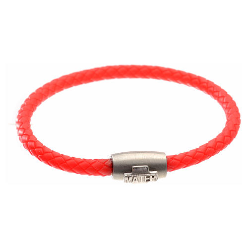 Bracelet in red leather with silver cross, MATER jewels 1
