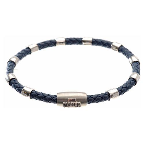 Bracelet dizainier MATER bleu croix argent 925 1
