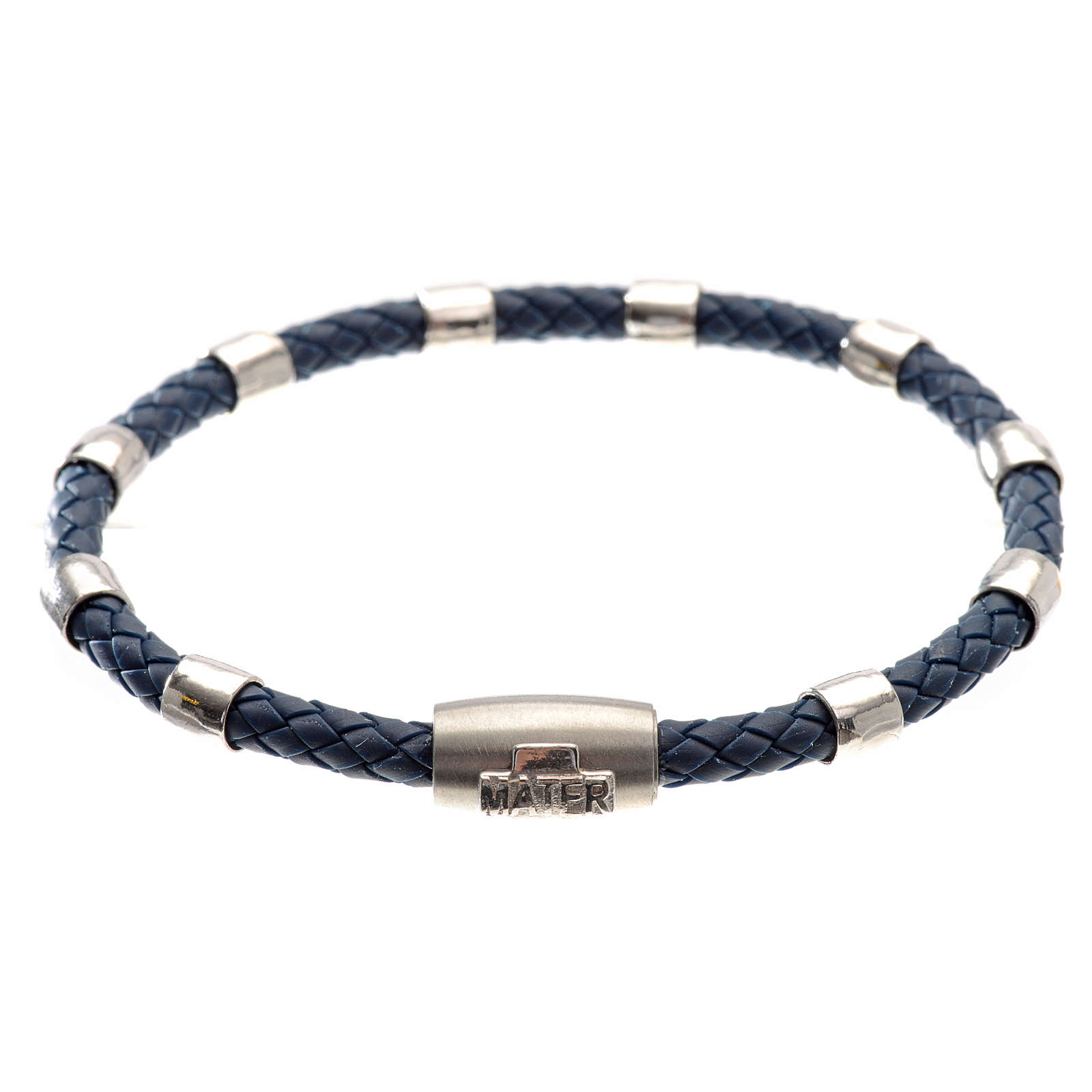 One decade bracelet in silver and blue leather, MATER jewels 4