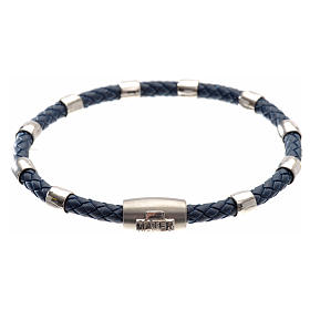 One decade bracelet in silver and blue leather, MATER jewels s1