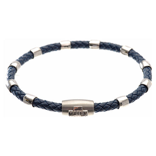One decade bracelet in silver and blue leather, MATER jewels 1