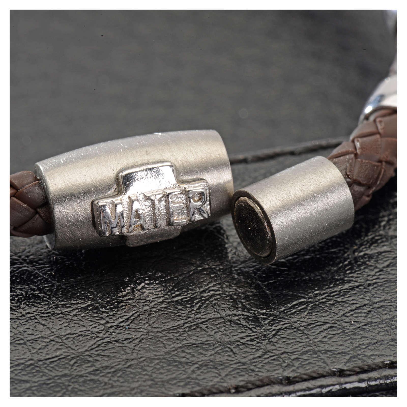 Bracciale MATER marrone croce e decina argento 925 4