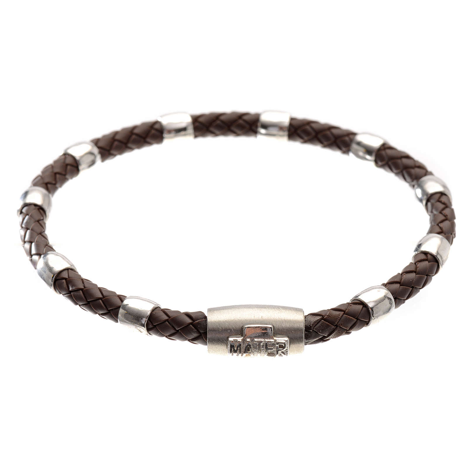 One decade bracelet in silver and brown leather, MATER jewels 4