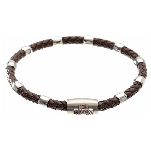 One decade bracelet in silver and brown leather, MATER jewels 1