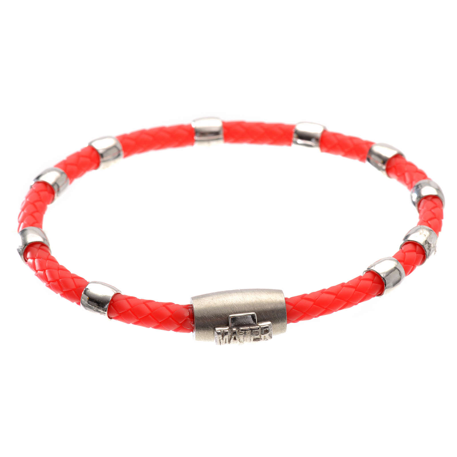 One decade bracelet in silver and red leather, MATER jewels 4