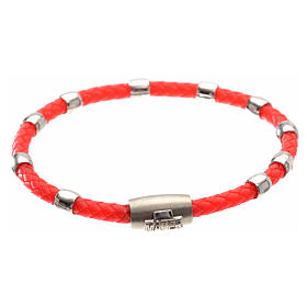Silver bracelets: One decade bracelet in silver and red leather, MATER jewels