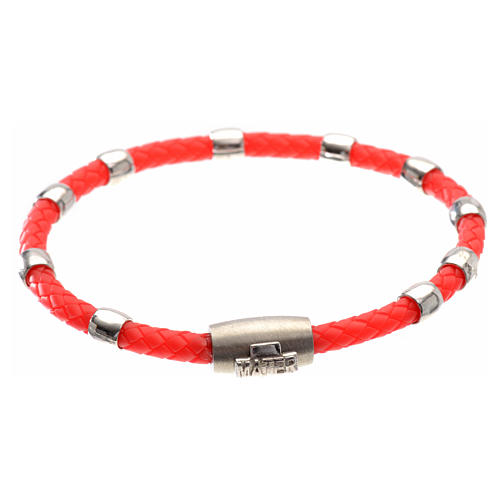 One decade bracelet in silver and red leather, MATER jewels 1