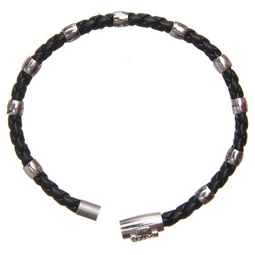 Bracciale MATER nero croce e decina argento 925 8