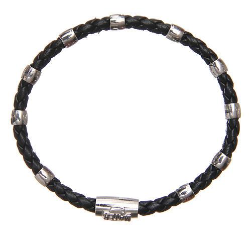 Bracciale MATER nero croce e decina argento 925 1