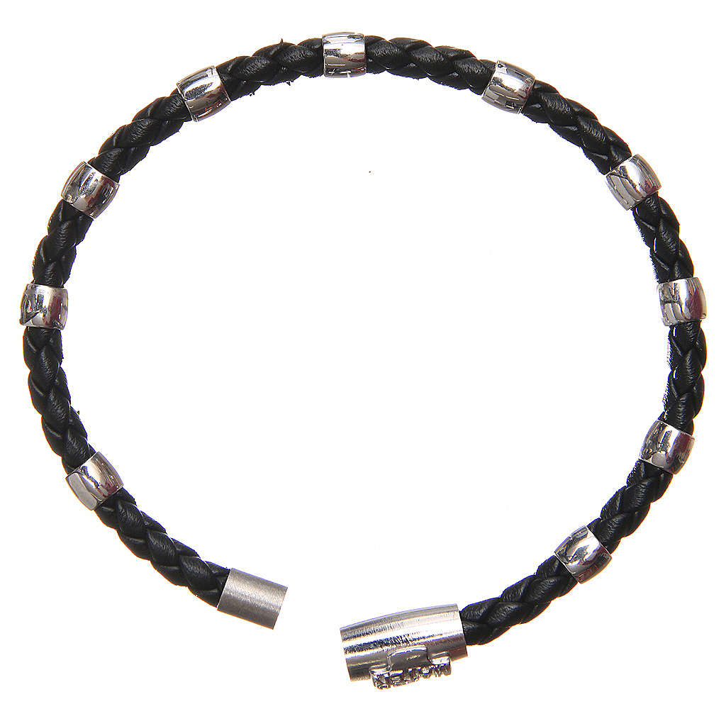 MATER bracelet, black with cross and decade in sterling silver 4