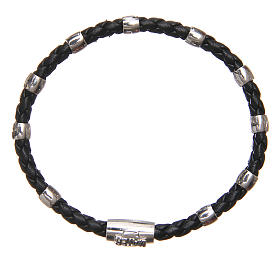 MATER bracelet, black with cross and decade in sterling silver s1