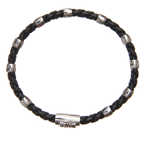 MATER bracelet, black with cross and decade in sterling silver 7