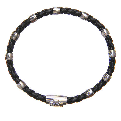 MATER bracelet, black with cross and decade in sterling silver 1