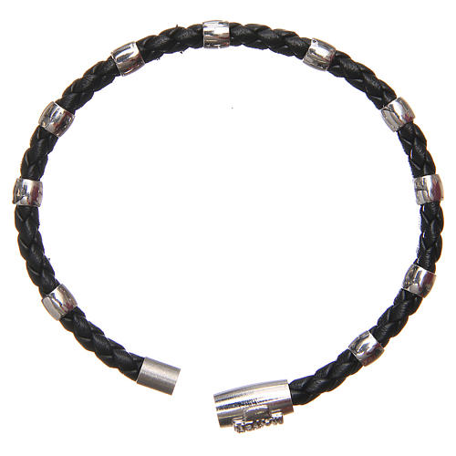 MATER bracelet, black with cross and decade in sterling silver 2