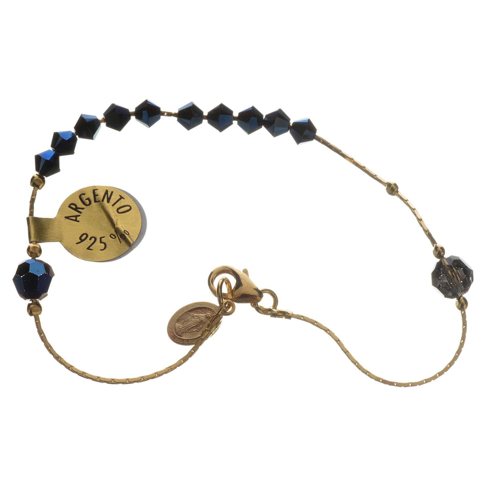 Bracelet, One Decade rosary beads, sterling silver and Swarovski 4