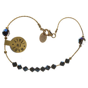 Bracelet, One Decade rosary beads, sterling silver and Swarovski s2