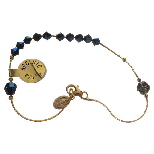 Bracelet, One Decade rosary beads, sterling silver and Swarovski 1