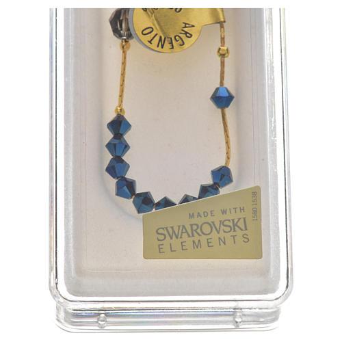 Bracelet, One Decade rosary beads, sterling silver and Swarovski 3