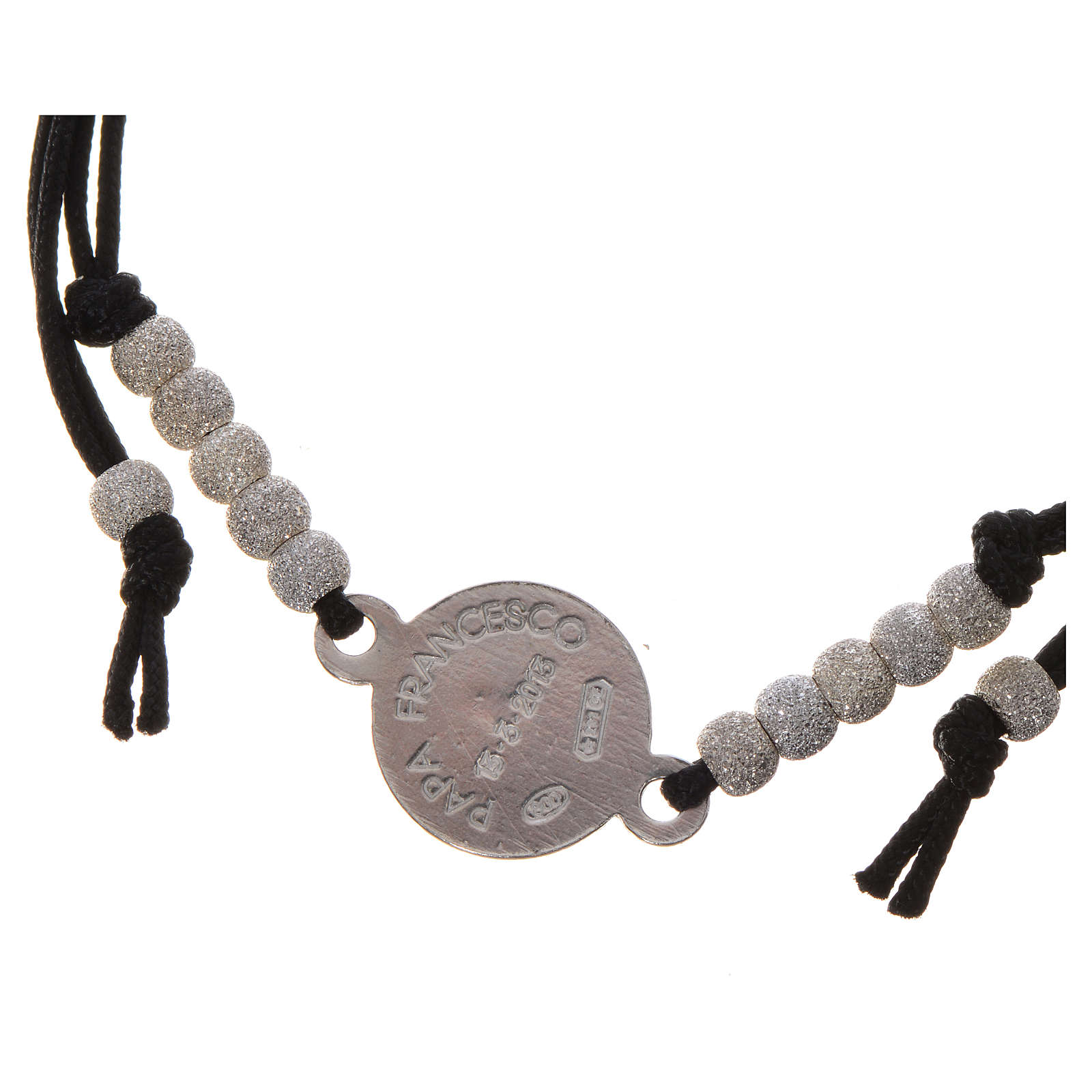 Bracciale Papa Francesco corda nera argento 800 4