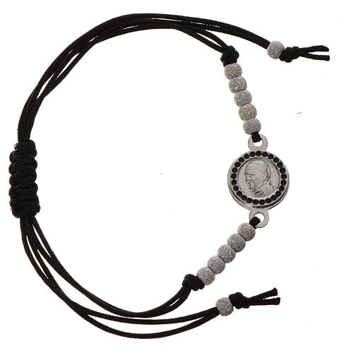 Pope Francis bracelet with black cord 925 silver 3