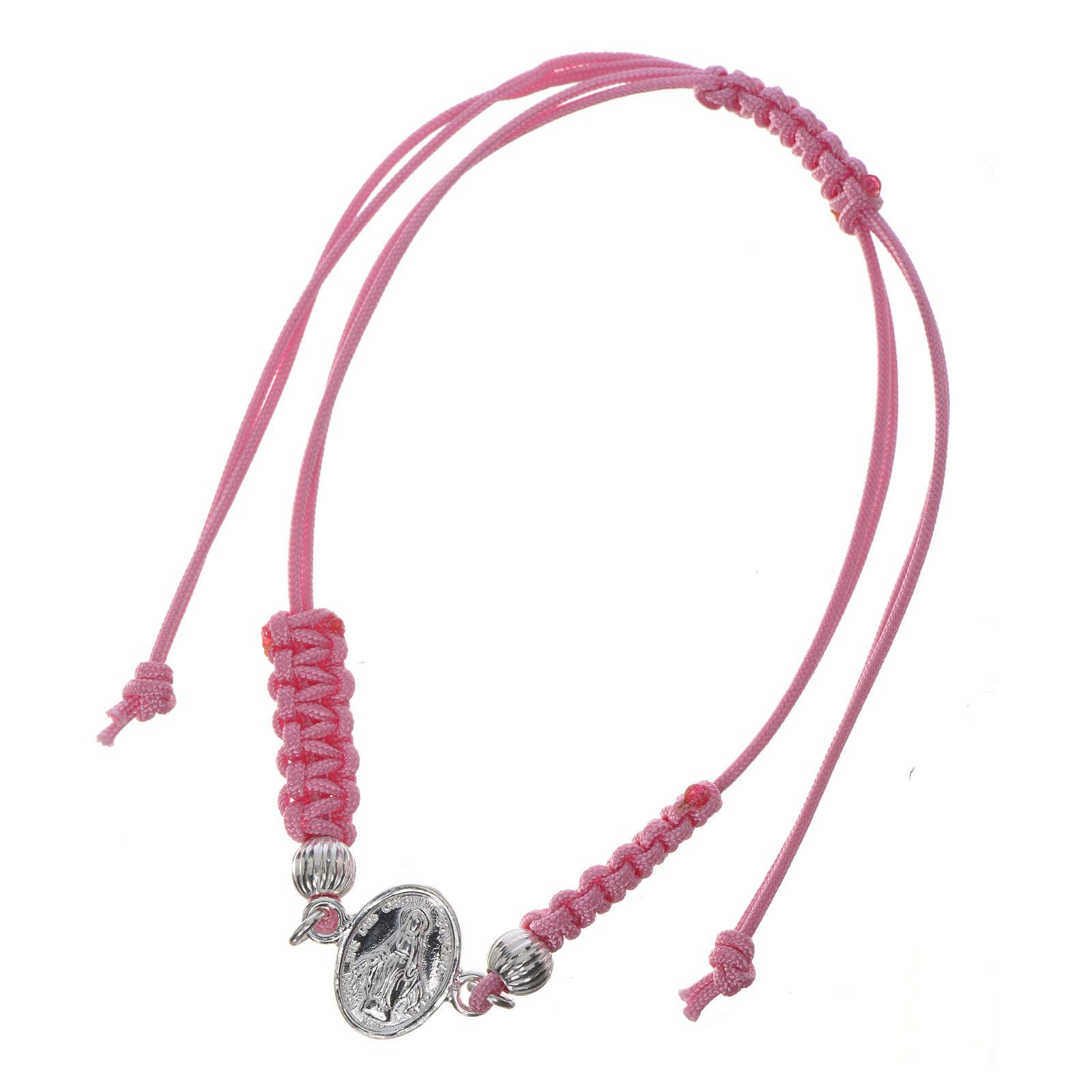 Bracciale Miracolosa corda rosa argento 800 4