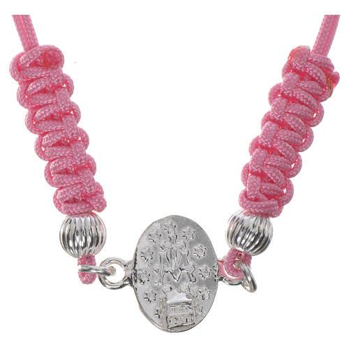 Bracciale Miracolosa corda rosa argento 800 2