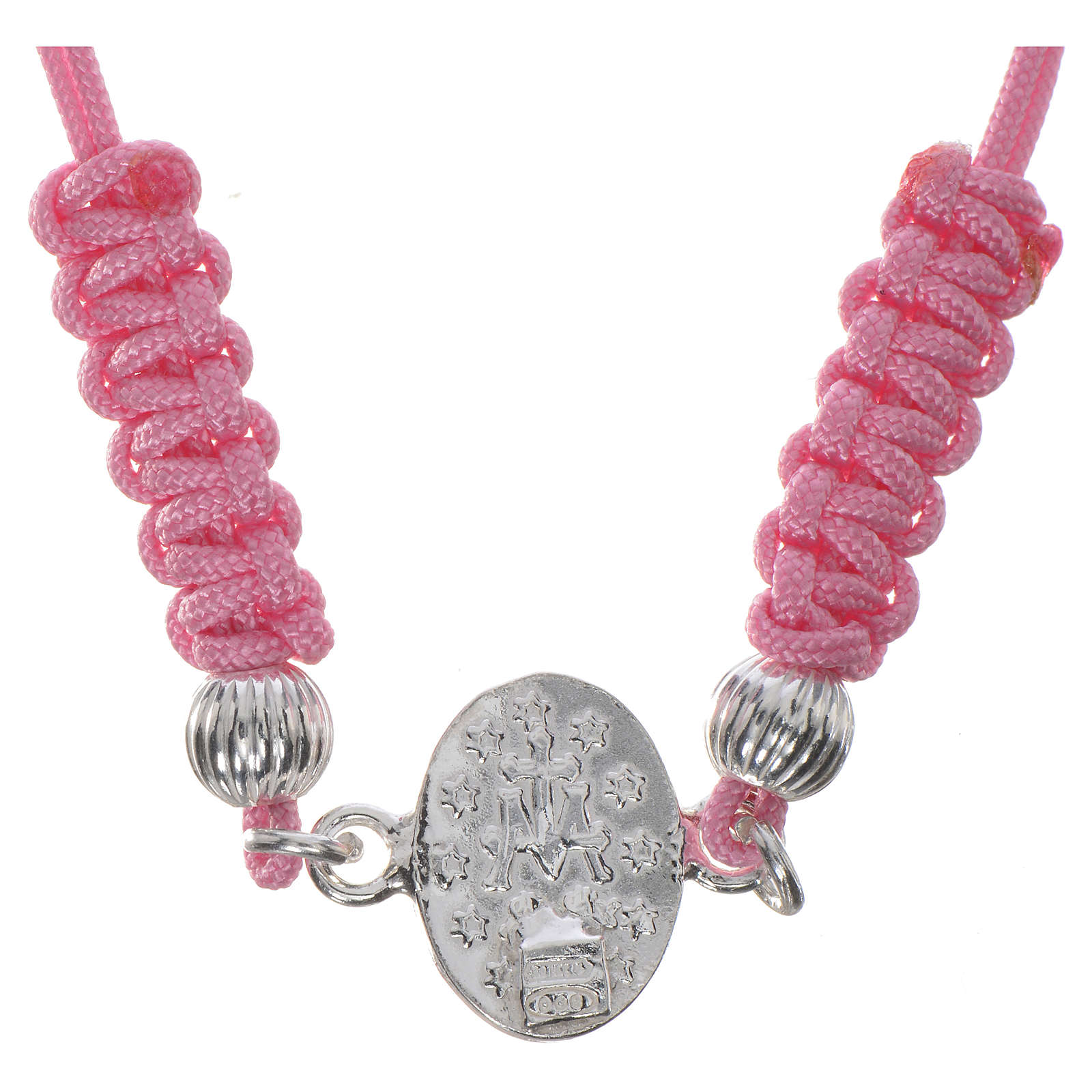 Miraculous Medal bracelet with pink cord, 925 silver 4