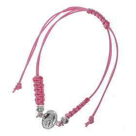 Miraculous Medal bracelet with pink cord, 925 silver s3