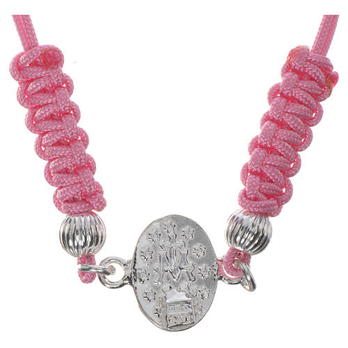 Miraculous Medal bracelet with pink cord, 925 silver 2