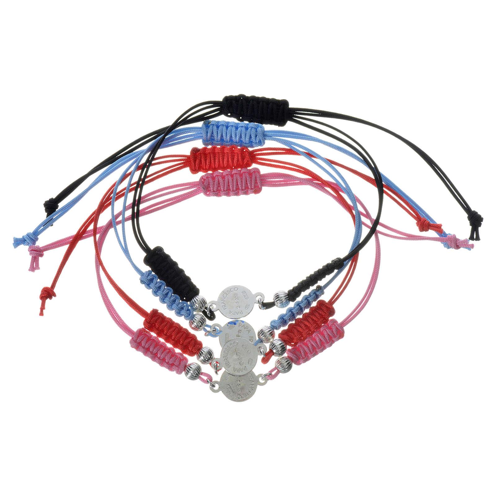Bracelet Pape François médaille argent 925 corde 4