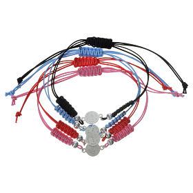 Bracelet Pape François médaille argent 925 corde s2