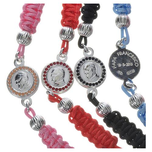 Bracelet Pape François médaille argent 925 corde 3