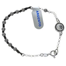 Pope Francis 800 silver one-decade bracelet, diamond effect grains s1