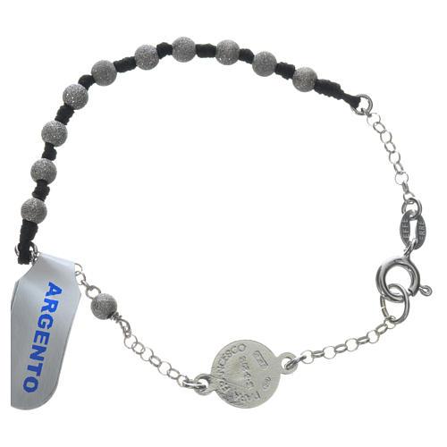 Pope Francis 800 silver one-decade bracelet, diamond effect grains 2