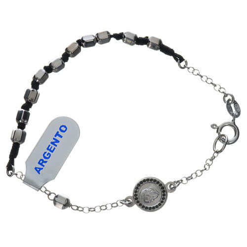 Bracelet with Pope Francis in 800 silver, hexagonal grain 1